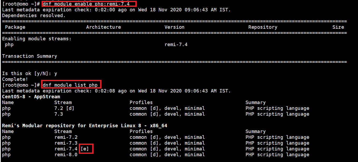 enable php-7.4 module