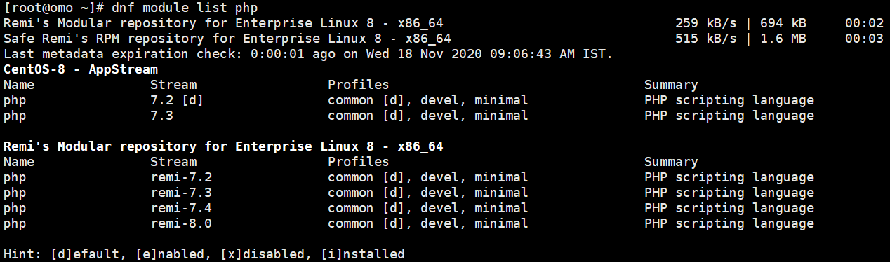 list php module